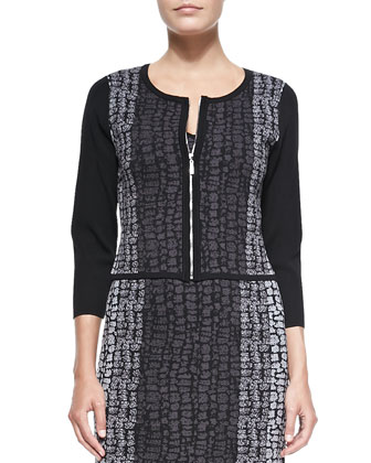 3/4-Sleeve Birdseye Jacquard Jersey Cardigan & Dress