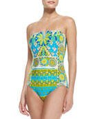 Woodblock Mixed-Print Bandeau One-Piece