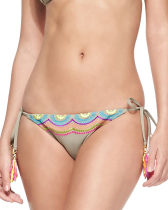 Wanderlust Embroidered Triangle Swim Top & Tie-Side Bottom