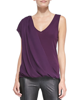 Sammy V-Neck Diagonal Drape Top