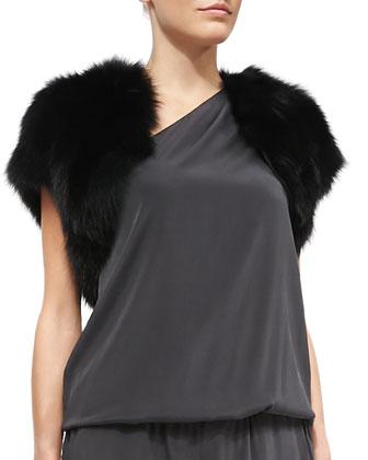 Fox Fur Shrug & Lulu Blouson-Top Stretch-Silk Jumpsuit