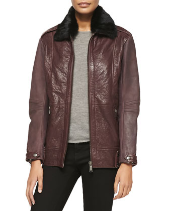 Nina Lambskin Leather Jacket w/ Fur Collar