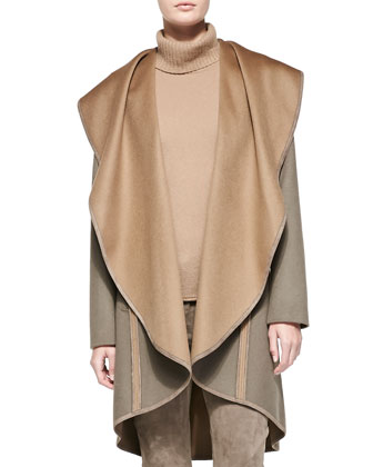 Lucinda Reversible Cascading-Collar Coat
