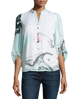 3/4-Sleeve Marble-Print Crepe Tunic, Spring