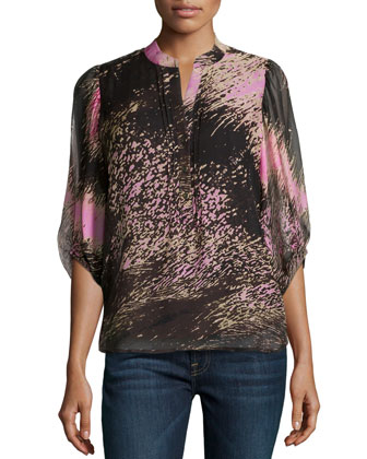 3/4-Sleeve Printed Woven Blouse
