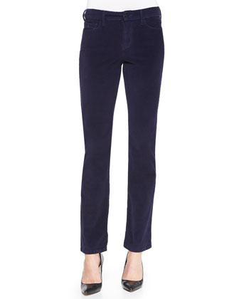 Faux-Shearling Moto Jacket & Marilyn Velveteen Straight-Leg Jeans