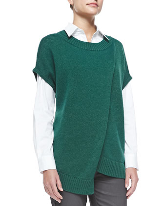 Crossover Cap-Sleeve Sweater, Botanic