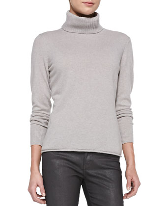 Turtleneck Sweater with Drop Needle Hem