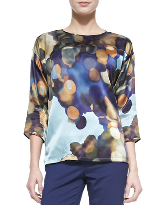 Keline 3/4-Sleeve Printed Silk Blouse