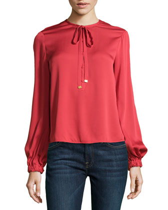 Balloon-Sleeve Billowy Silk Blouse, Coral