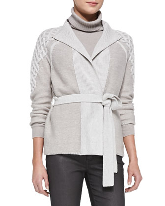 Belted Combo Knit Cardigan/Turtleneck Sweater with Drop Needle Hem & Curvy ...