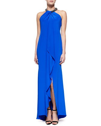 Halter Beaded-Neck Gown