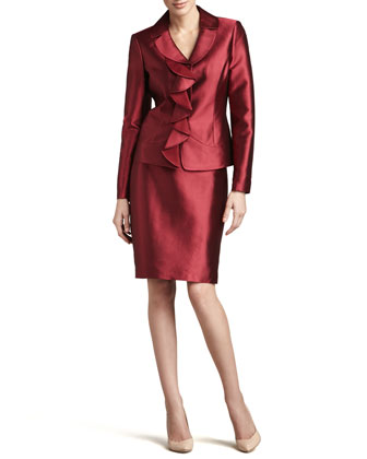 Ruffled Silk-Wool Skirt Suit