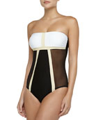 Mrs. Bond Colorblock Maillot, White/Sand/Onyx