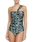 One-Shoulder Tie-Dye Jeweled Maillot, Jet