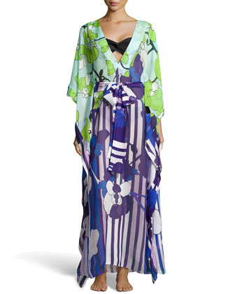 Floral-Stripe Print Chiffon Maxi Coverup, Orchid Collage