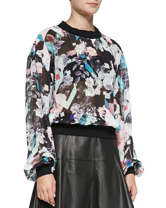 Max Solid-Trim Sheer Printed Top & Ibiza Leather A-Line Skirt
