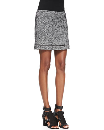 Nell Tweed Zip-Trim Skirt
