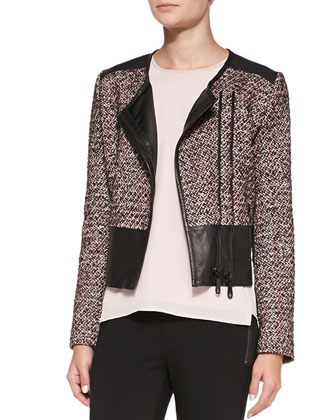 Ansel Double-Zip Jacket with Leather Detail, Walter Structured Crewneck ...