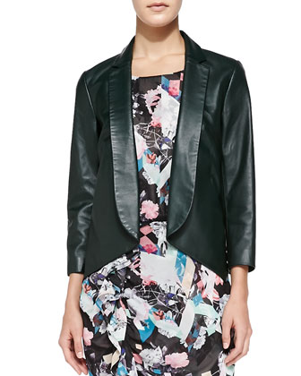 Ace Open-Front Leather Jacket & Jenson Printed Gathered Dress