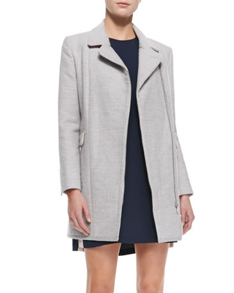 Finley Asymmetric Zip Coat & Lars Shift Dress with Colorblocked Sides