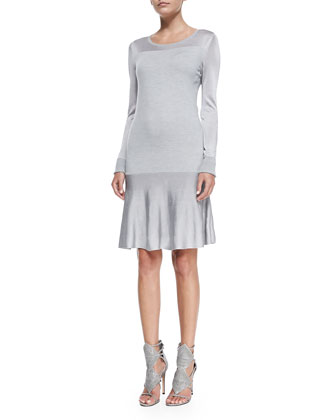 Leigh Long-Sleeve Lightweight Sweater Dress