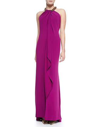 Beaded Halter Draped Front Gown, Women's