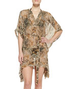 Lima Animal-Print Silk Coverup