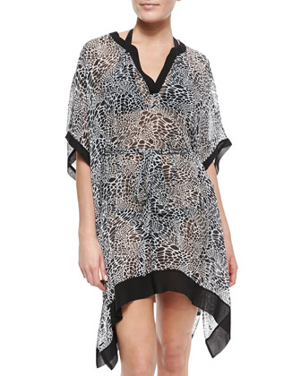 Lima Printed Half-Sleeve Coverup, Pearl