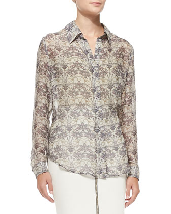 Long-Sleeve Lotus Flower-Print Blouse & Zip-Front Pencil Skirt