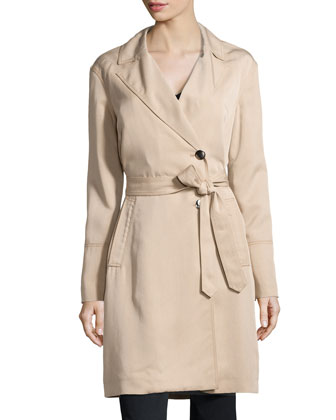 Callista Twill Trench Coat, Medium Beige