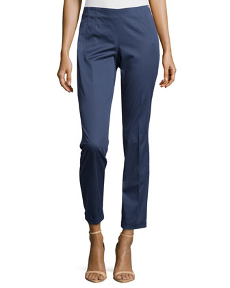 Tildai Slim-Fit Crop Pants, Blueberry Muffin