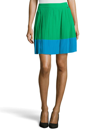Raecel Colorblock Pleated Skirt, Green/Blue
