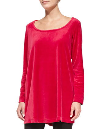 Velour Trapeze Tunic and Cropped Stretch-Jersey Leggings