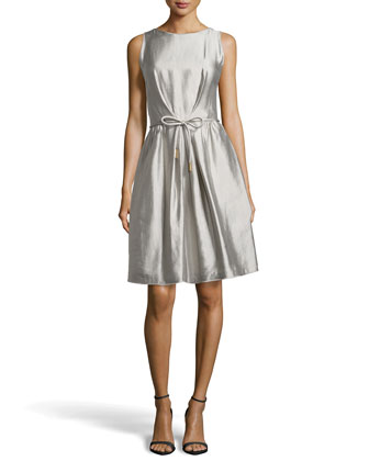 Docus Silk Pleated Dress, Shadow