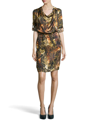 Davanee Printed Silk Shirtdress, Fantasy