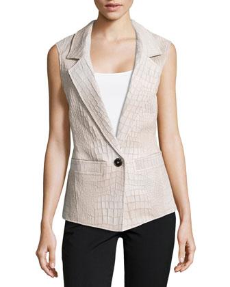 Alligator-Embossed Leather Vest, Shadow