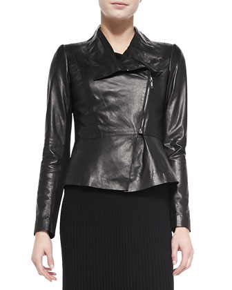 Estelle Lambskin Jacket & Pleated A-line Knit Skirt