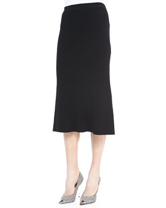 Pleated A-line Knit Skirt