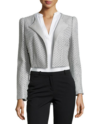 Briddi Eyelet Crop Jacket, Gray
