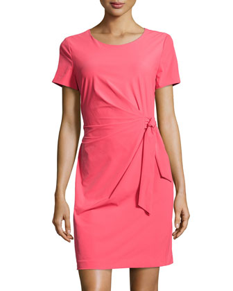 Solid Ruched Tie-Waist Dress, Tulip