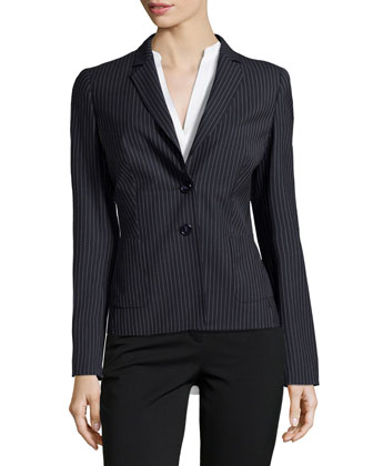 Beya Pinstripe Two-Button Blazer, Navy