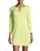 New Reina Two Printed Dress, Caning Small Lime