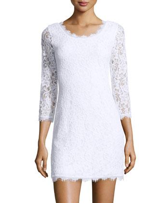 3/4-Sleeve Lace Sheath Dress, White