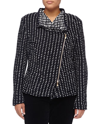 Boni Diagonal-Zip Tweed Jacket, Navy