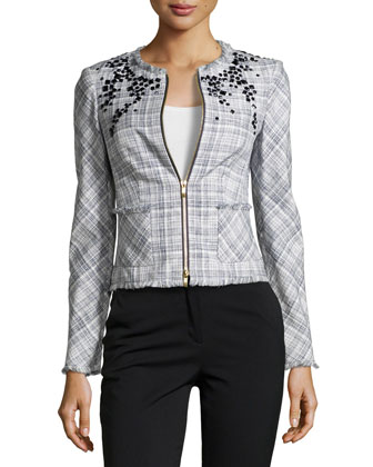 Bead-Neck Woven Jacket, Navy