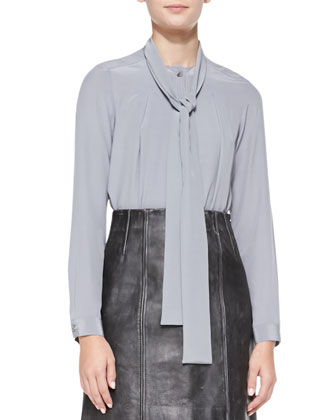 Sandwashed Crepe de Chine Tie-Neck Top