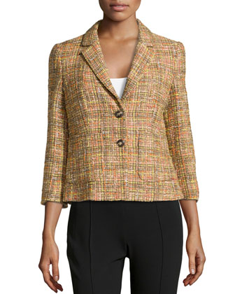 Bogna Tweed Two-Button Blazer, Cactus