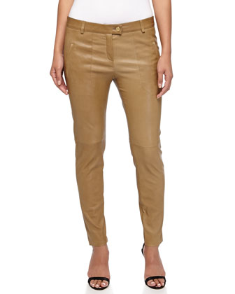 Linya Cropped Leather Pants, Cactus