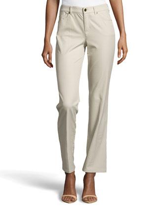 Tessa Straight-Leg Jeans, Greige